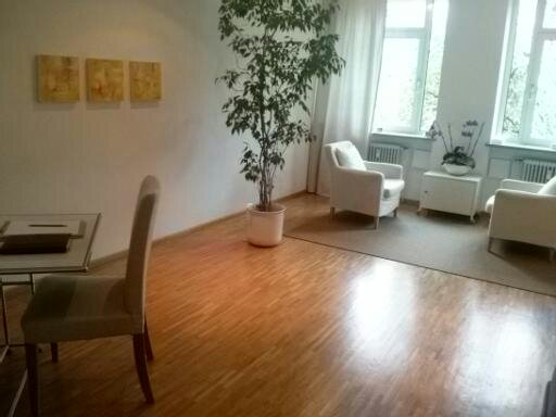 Behandlungsraum mit Ficus und Schreibtisch